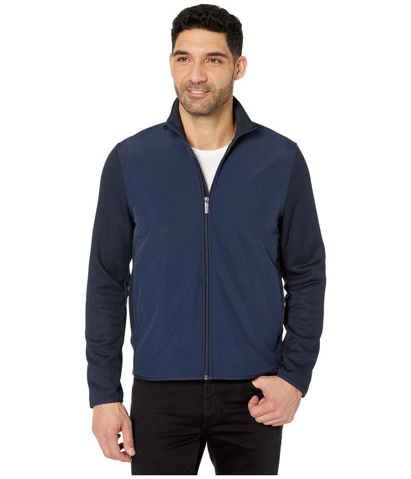 ペリーエリス メンズ コート アウター Solid Stretch Full Zip Fleece Long Sleeve Shirt Dark Sapphire