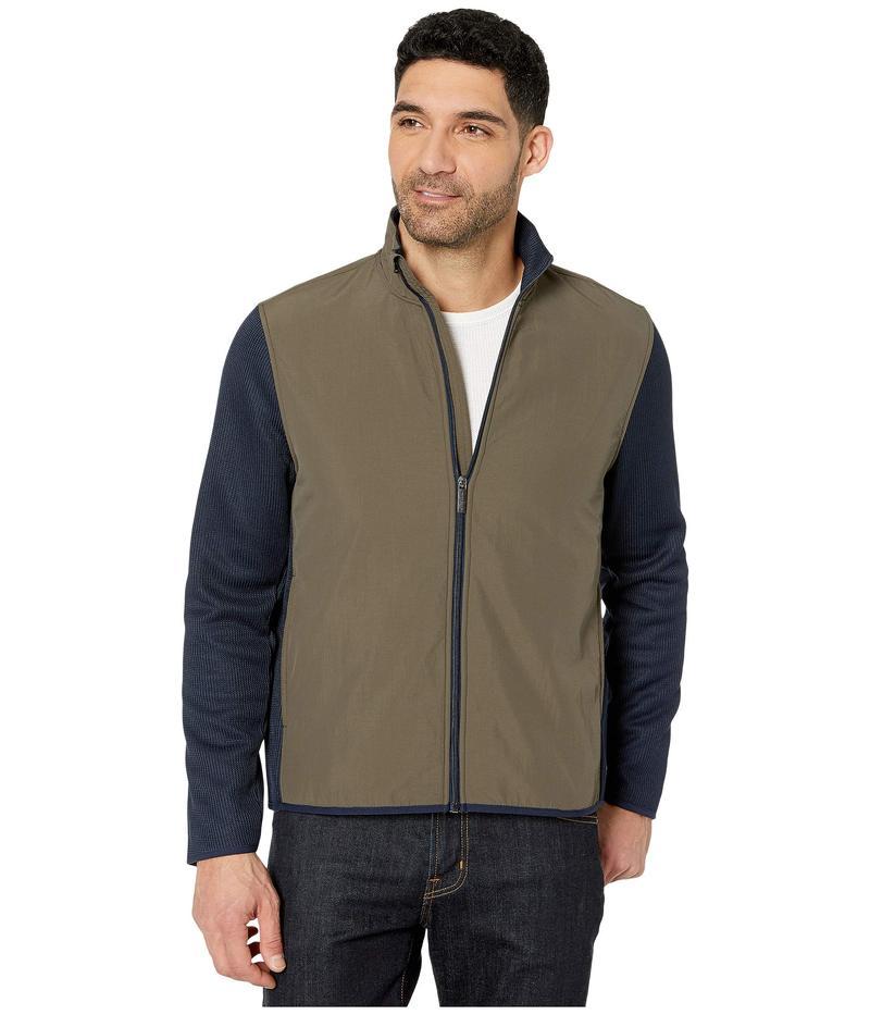 ペリーエリス メンズ コート アウター Color Block Stretch Full Zip Fleece Long Sleeve Shirt Wren