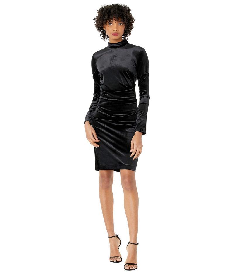 ニコルミラー レディース ワンピース トップス Stretch Velvet Turtleneck Dress Black