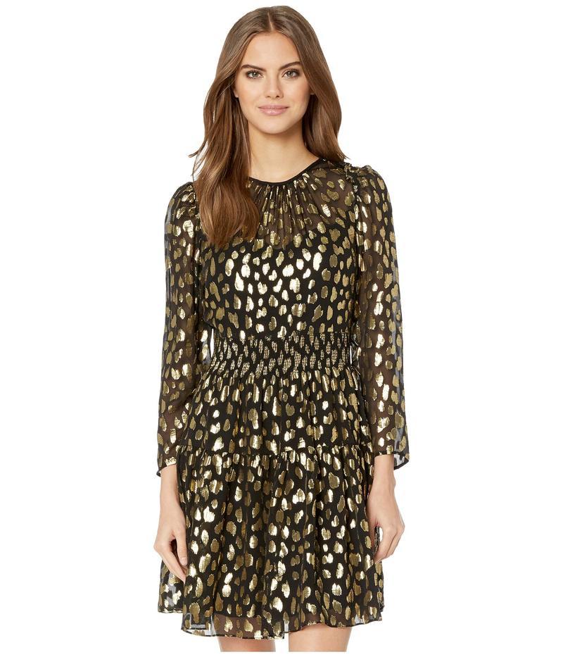 レベッカテイラー レディース ワンピース トップス Long Sleeve Leopard Metallic Dress Black Combo
