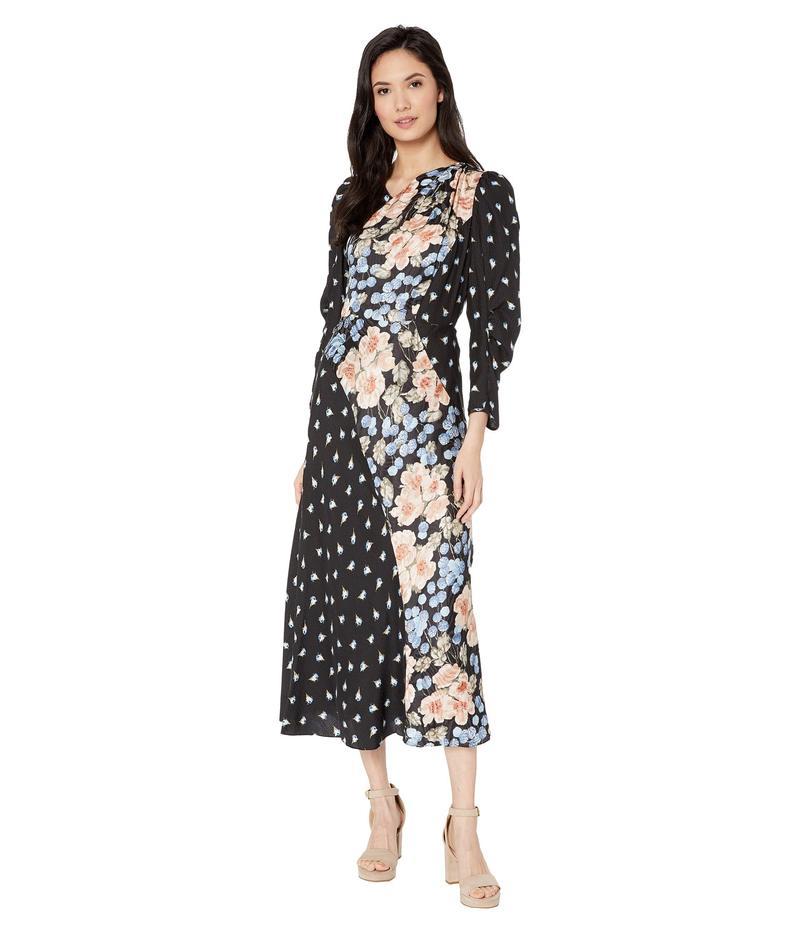 レベッカテイラー レディース ワンピース トップス Long Sleeve Print Mix Dress Black Combo
