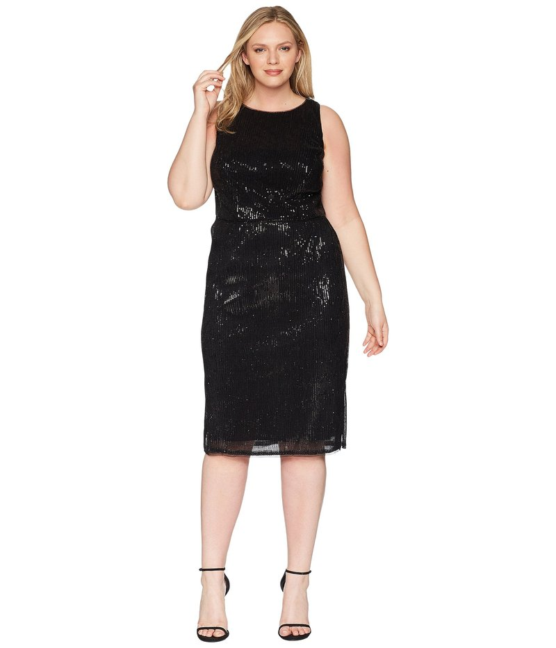 アドリアナ パペル レディース ワンピース トップス Plus Size Halter Pleated Sequin Dress Black