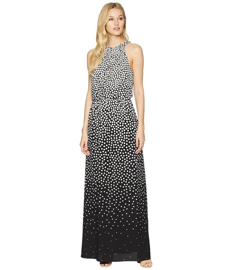 アドリアナ パペル レディース ワンピース トップス Moody Dot Maxi Halter Dress Black/Ecru