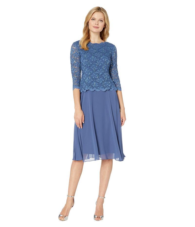 アレックスイブニングス レディース ワンピース トップス Tea Length Sequin Lace Mock Dress Wedgewood