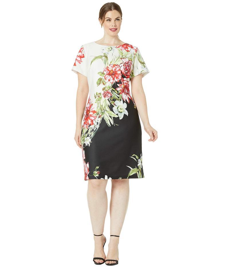 アドリアナ パペル レディース ワンピース トップス Plus Size Cap Sleeve Printed Scuba A-Line Dress Black/Ivory Multi