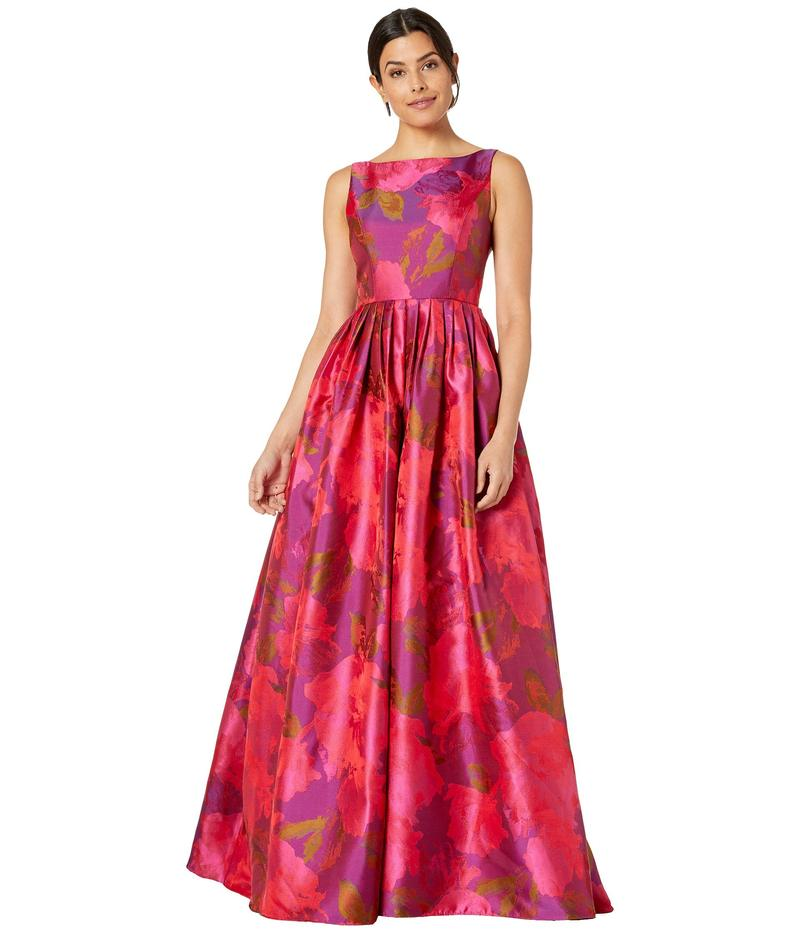 アドリアナ パペル レディース ワンピース トップス Boat Neckline Floral Jacquard Ball Gown with Long Pleated Full Skirt Magenta Multi