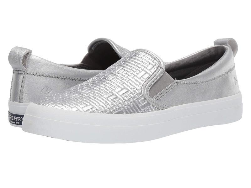 スペリー レディース スニーカー シューズ Crest Slip-On Woven Emboss Silver