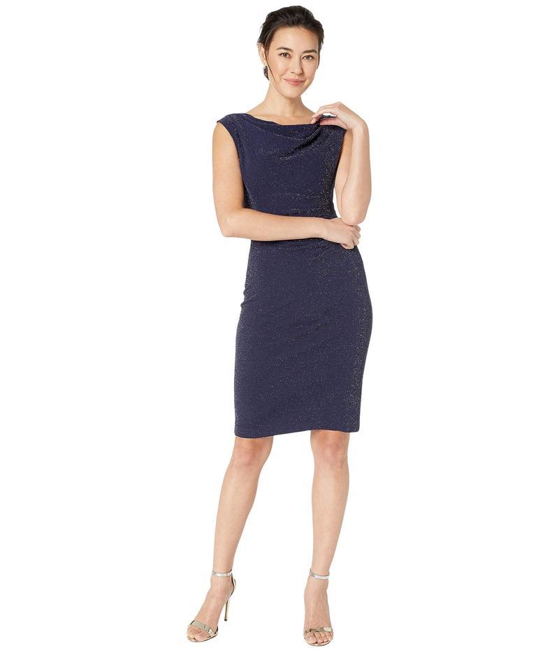 タハリ レディース ワンピース トップス Petite Sleeveless Sparkle Knit Side Draped Dress w/ Cowl Neckline Navy