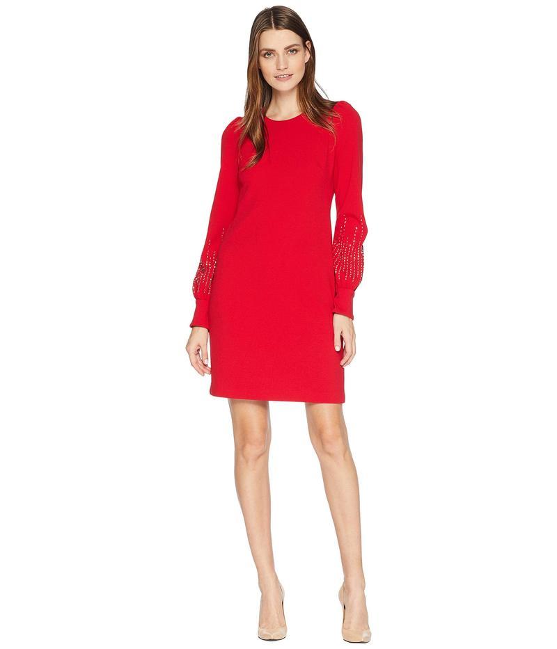 カルバンクライン レディース ワンピース トップス Embellished Bubble Sleeve Sheath Dress Red