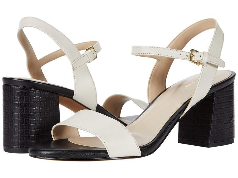 コールハーン レディース ヒール シューズ Josie Block Heel Sandal Ivory Leather/Black Embossed Leather Heel