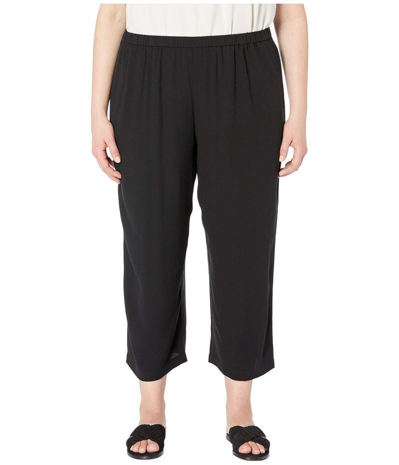 エイリーンフィッシャー レディース カジュアルパンツ ボトムス Plus Size Silk Georgette Crepe Straight Cropped Pants Black