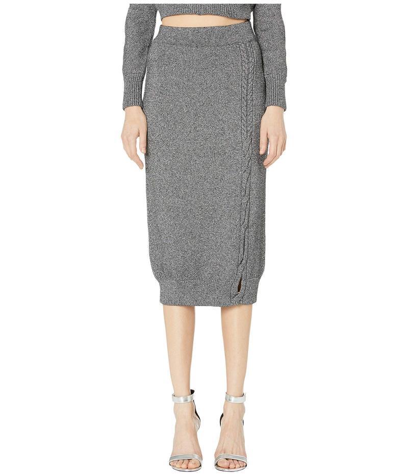 クシュニーエオクス レディース スカート ボトムス High-Waisted Knit Pencil Skirt with Cable Detail Gunmetal/Silver
