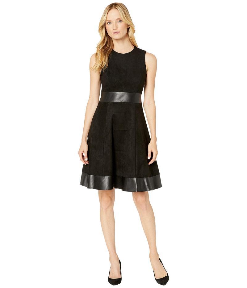 カルバンクライン レディース ワンピース トップス A-Line Dress with PU Detail Black/Black