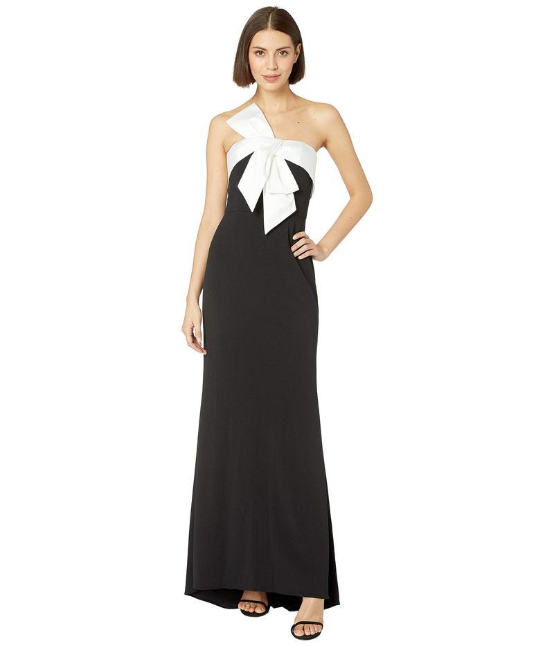 アドリアナ パペル レディース ワンピース トップス Knit Crepe Evening Gown with Bow Detail Black/Ivory