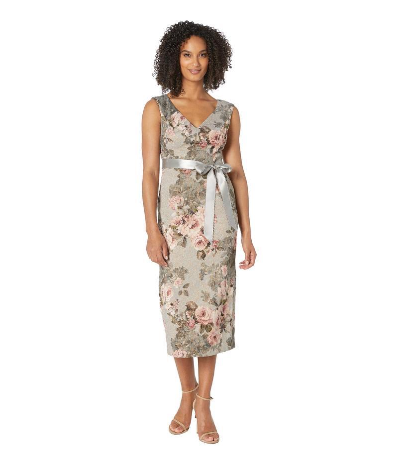 アドリアナ パペル レディース ワンピース トップス Metallic Matlesse Floral Midi Dress with Ribbon Slate/Blush Multi
