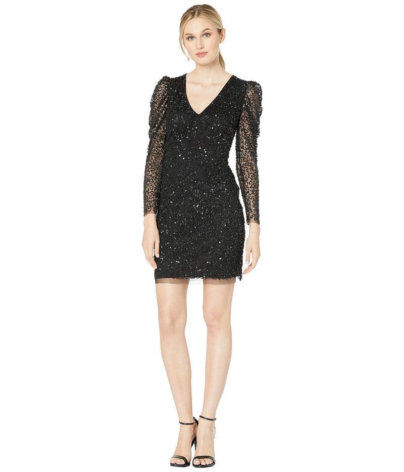 アドリアナ パペル レディース ワンピース トップス Long Sleeve Beaded Cocktail Dress Black