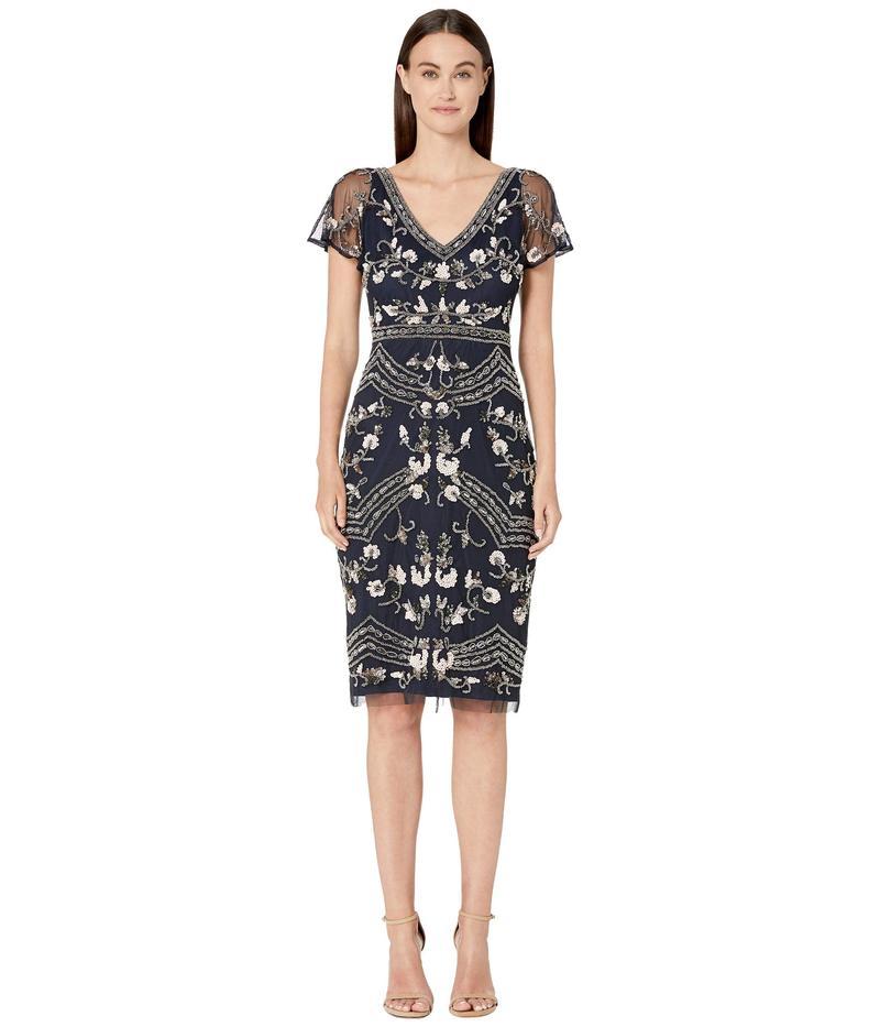 アドリアナ パペル レディース ワンピース トップス Floral Beaded Flutter Sleeve Cocktail Dress Midnight Multi