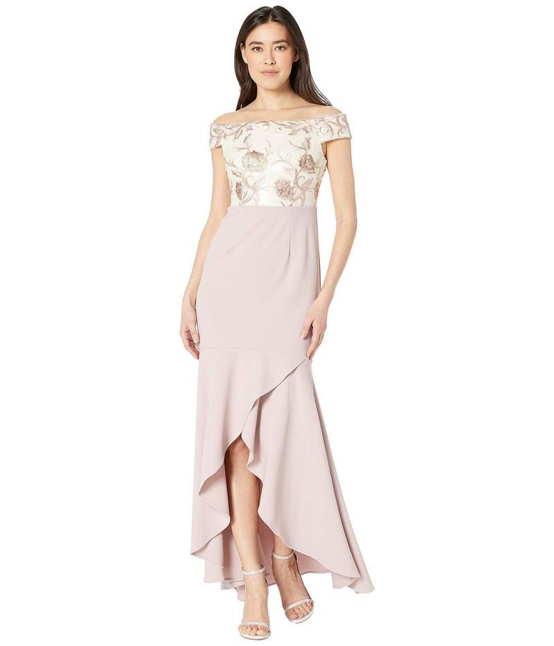 アドリアナ パペル レディース ワンピース トップス Petite Off the Shoulder Embroidered Bodice Evening Gown Quartz