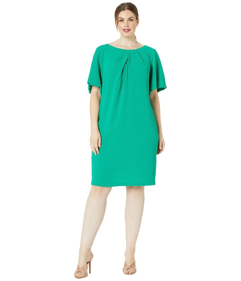 アドリアナ パペル レディース ワンピース トップス Plus Size Textured Crepe Dress with Draped Neckline and Puff Sleeves Emerald Green