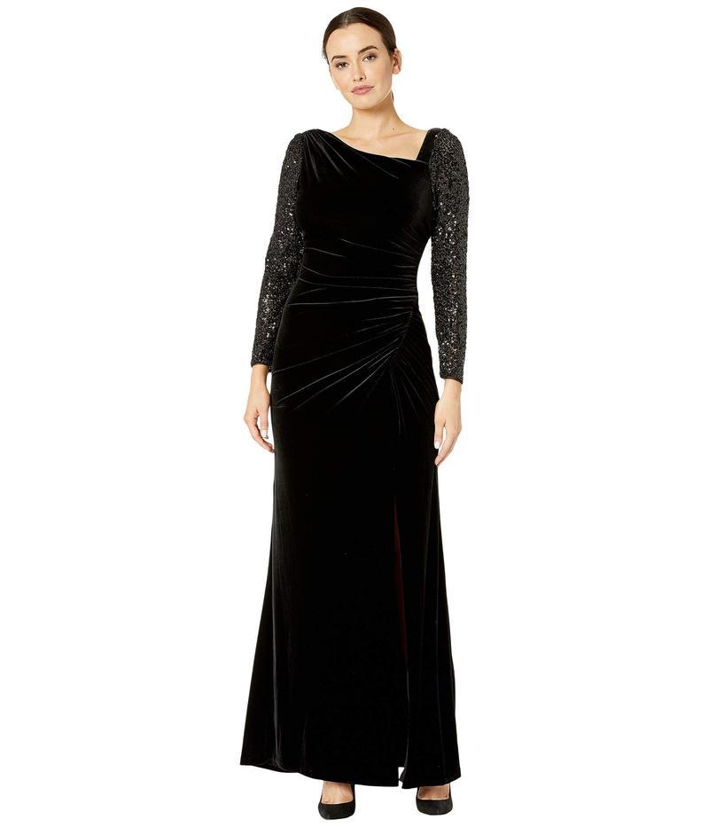 アドリアナ パペル レディース ワンピース トップス Velvet and Sequin Gown Black