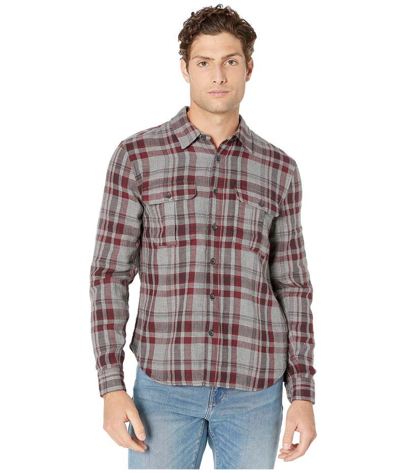 セブンフォーオールマンカインド メンズ シャツ トップス Long Sleeve Double Patch Pocket Shirt Burgundy Plaid