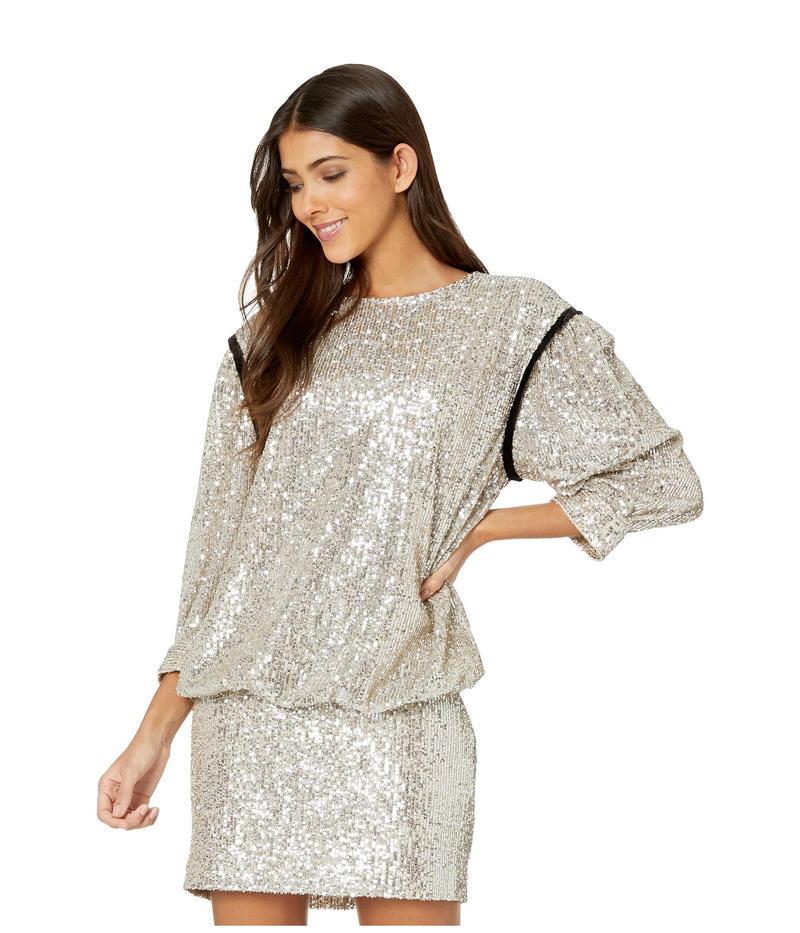 セブンフォーオールマンカインド レディース ワンピース トップス Long Sleeve Sequin Dress Silver/Black Contrast