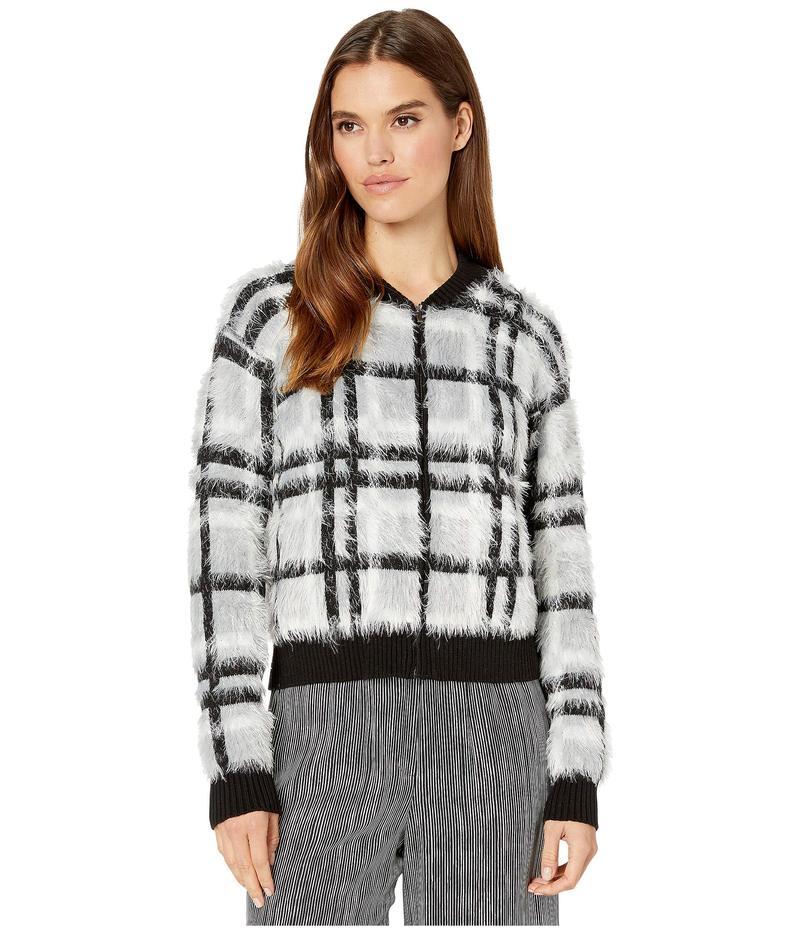 ワンステイト レディース ニット・セーター アウター Zip Front Plaid Eyelash Sweater Silver/Blush