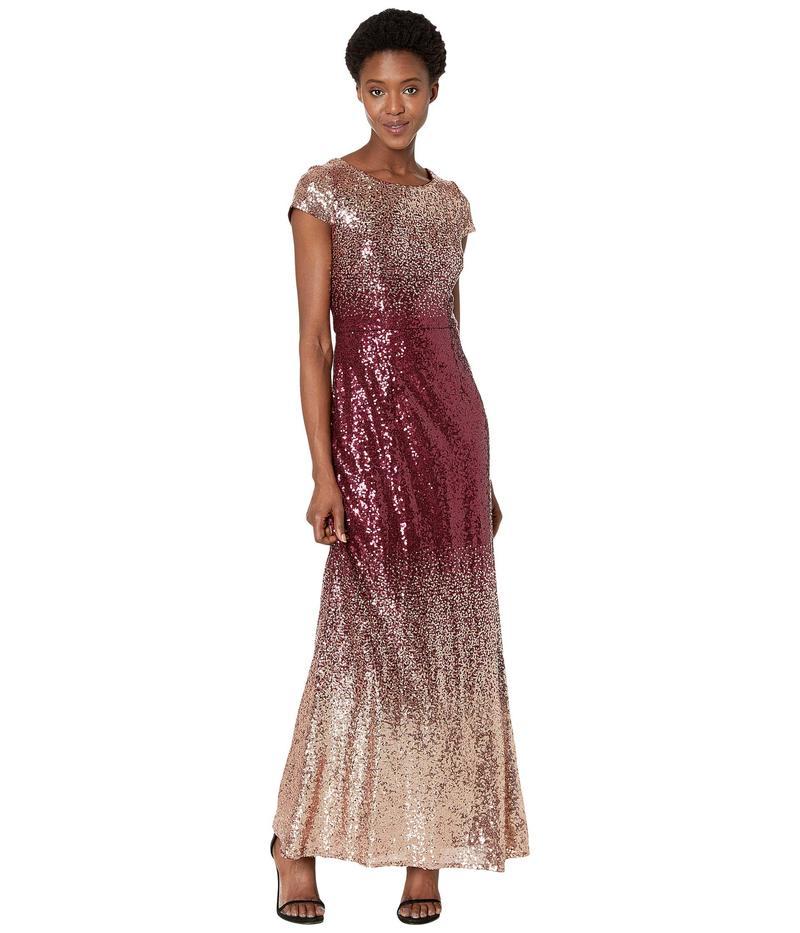 アレックスイブニングス レディース ワンピース トップス Long A-Line Ombre Sequin Dress Rose Gold/Wine