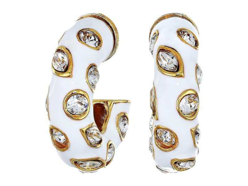 オスカー デ ラ レンタ レディース ピアス・イヤリング アクセサリー Small Metal Hoop with Crystals P Earrings White