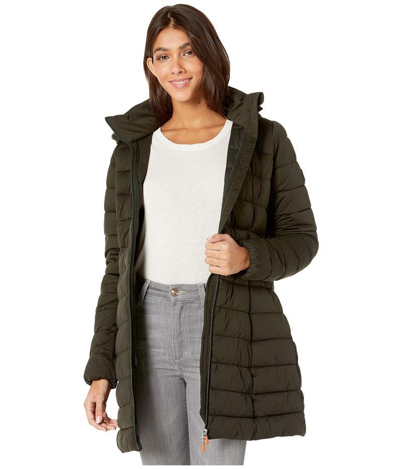 セイブ ザ ダック レディース コート アウター Sold 9 Puffer Coat with Detachable Hoodie Green/Black