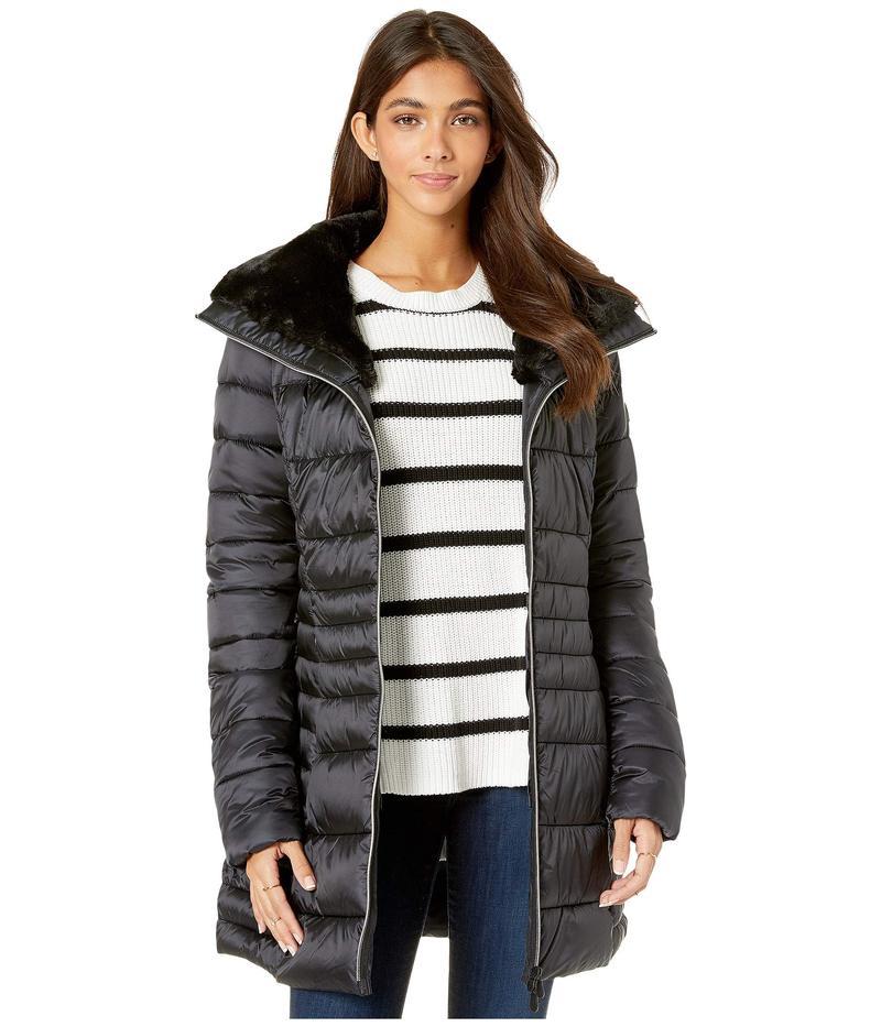 セイブ ザ ダック レディース コート アウター Iris 9 Puffer Coat with Faux Fur Lined Collar Black