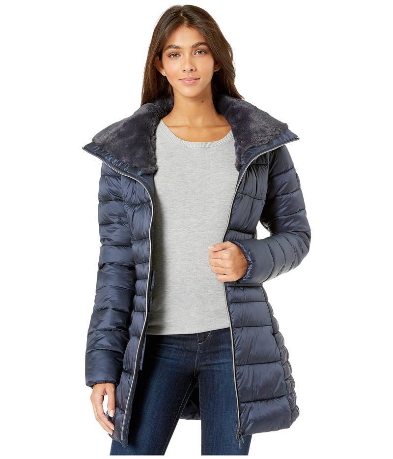 セイブ ザ ダック レディース コート アウター Iris 9 Puffer Coat with Faux Fur Lined Collar Blue/Black