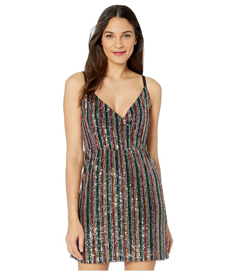 サンクチュアリー レディース ワンピース トップス Rainbow Prism Wrap Mini Dress Rainbow Sequin