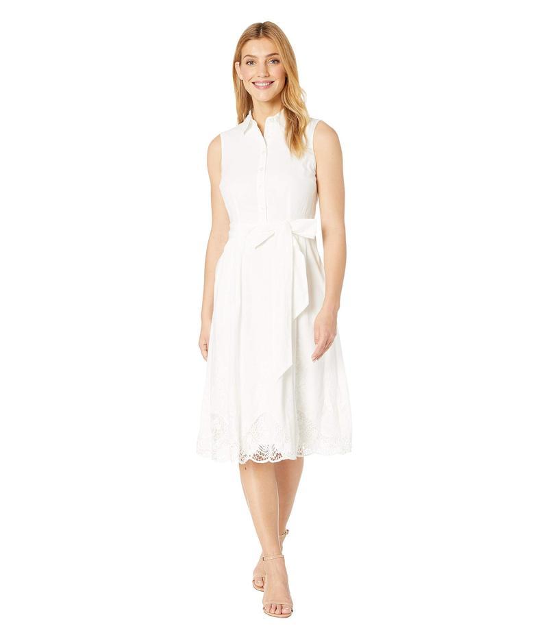 タハリ レディース ワンピース トップス Sleeveless Embroidered Hem Shirtdress Off-White