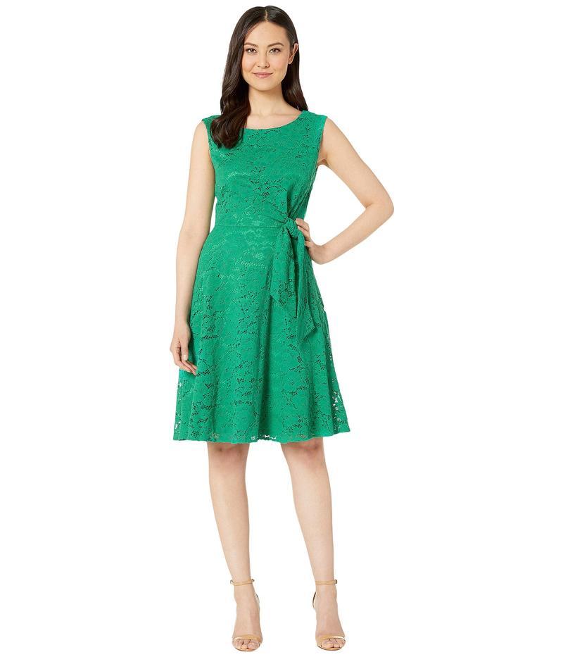 タハリ レディース ワンピース トップス Stretch Lace Side Tie Fit and Flare Dress Tropical Green