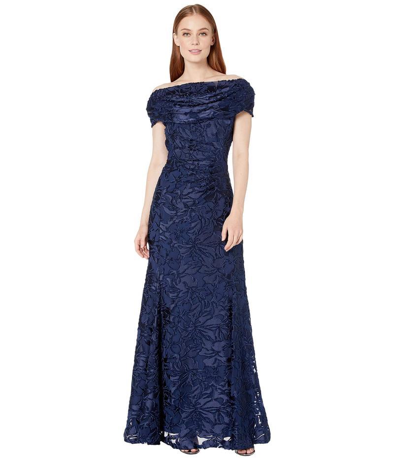 タハリ レディース ワンピース トップス Short Sleeve Burnout Velvet Gown with Draped Neckline Navy Burnout Floral