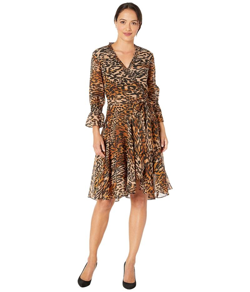 タハリ レディース ワンピース トップス Petite Animal Printed Chiffon Long Sleeve Dress with Side Tie and Cinched Sleeve Classic Leopard