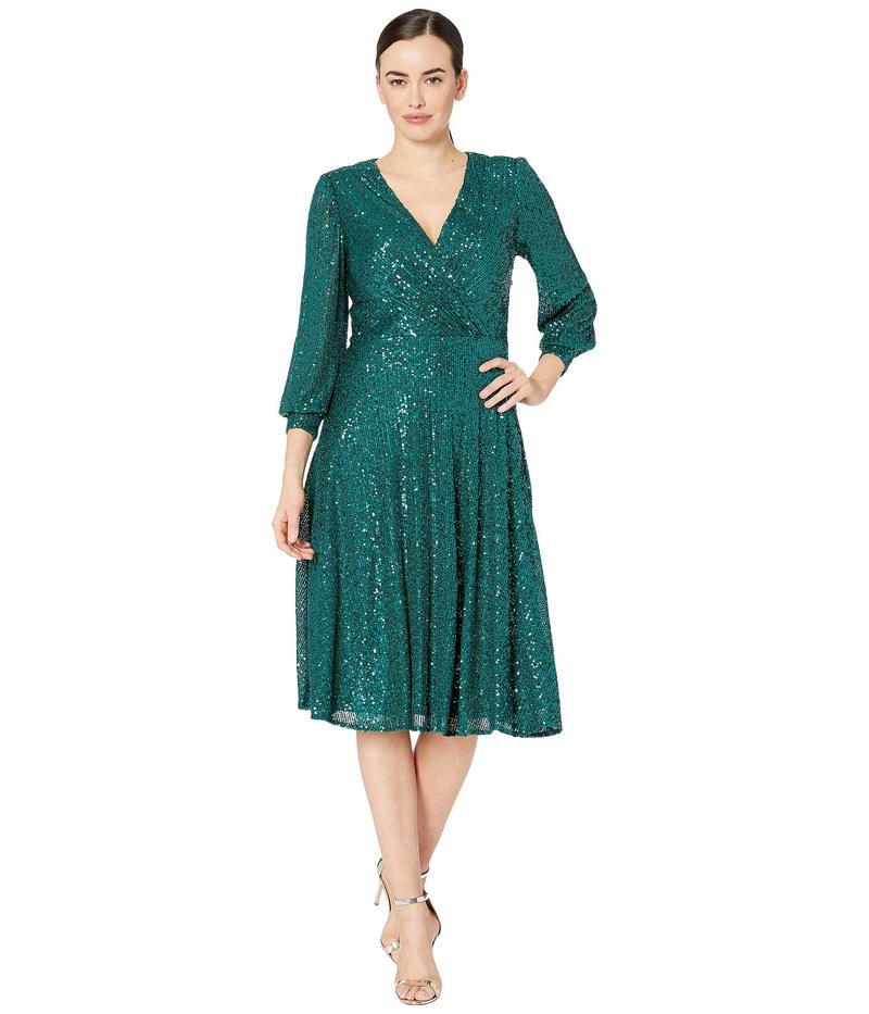タハリ レディース ワンピース トップス Long Sleeve Fully Sequin Dress Emerald Sequin