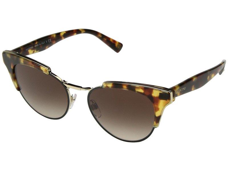 ヴァレンティノ レディース サングラス・アイウェア アクセサリー VA 4026 Persimmon Cubed Havana/Light Gold/Brown Gradient