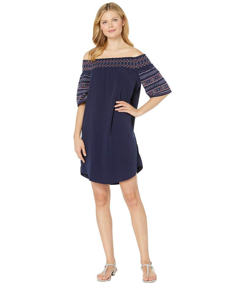 トリバル レディース ワンピース トップス Soft Woven Off Shoulder Embroidery Dress Nautical