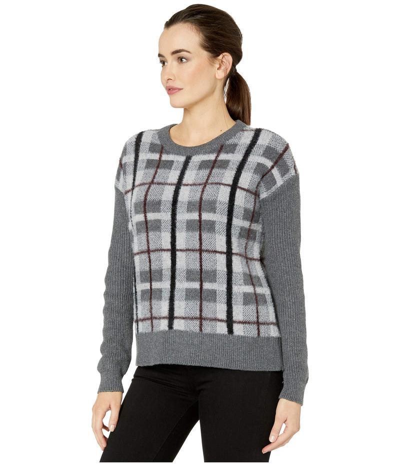 ヴィンスカムート レディース ニット・セーター アウター Long Sleeve Plaid Short Eyelash Sweater Medium Heather GreyEWH29DI