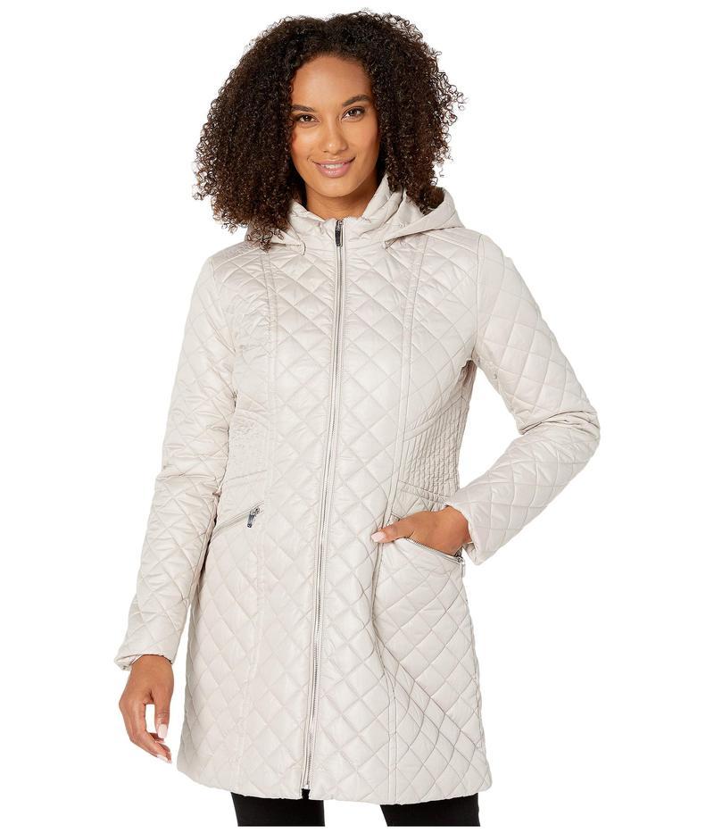 ヴィアスピガ レディース コート アウター Zip Front Stitched Quilt w/ Detachable Hood Oyster