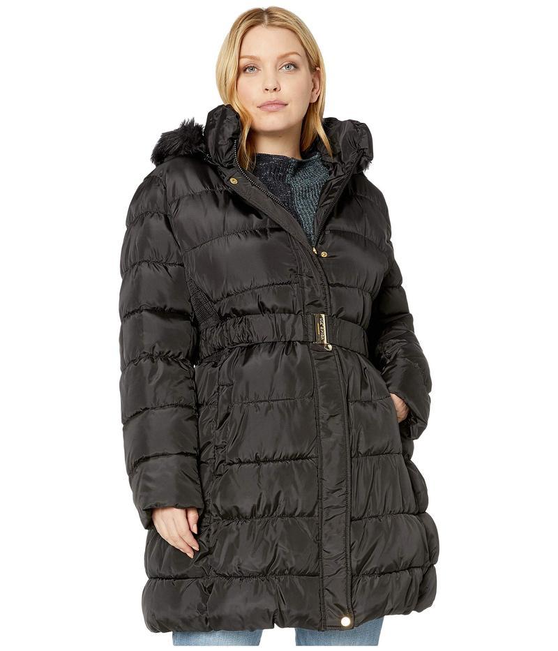 ヴィアスピガ レディース コート アウター Plus Size 3/4 Belted Ruched Puffer Black