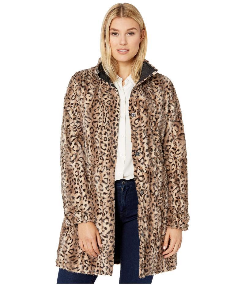 ヴィアスピガ レディース コート アウター Reversible Button Front Faux Fur Coat Leopard