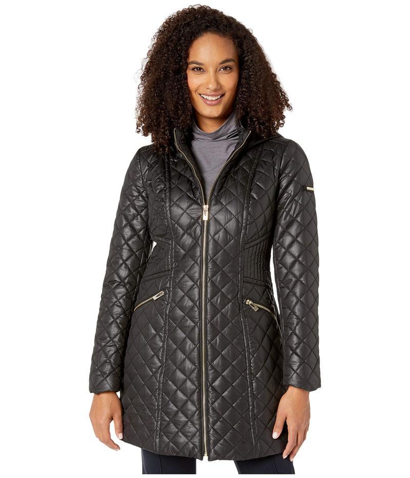 ヴィアスピガ レディース コート アウター Mixed Stitch Hooded Quilt Jacket Black