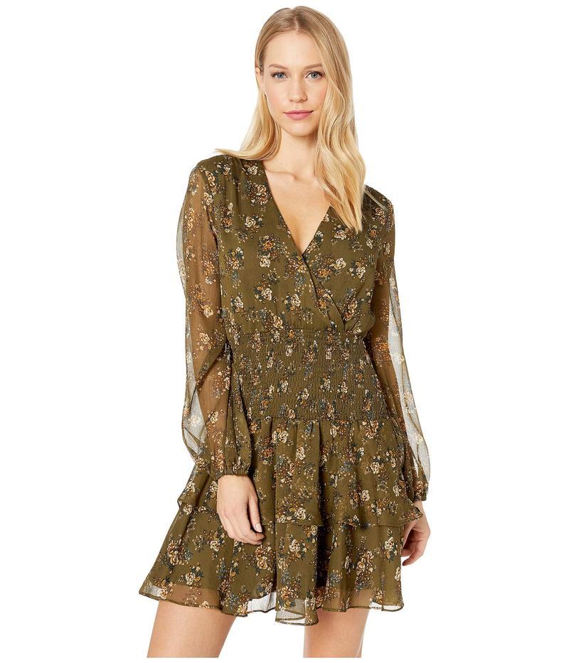 バードット レディース ワンピース トップス Ditsy Shirred Dress Khaki Floral