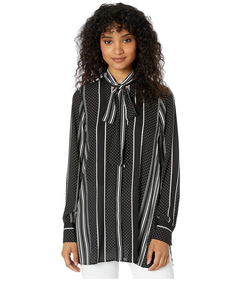 ビーシービージーマックスアズリア レディース シャツ トップス Stripe Tie Neck Woven Top Black Dots/Stripes