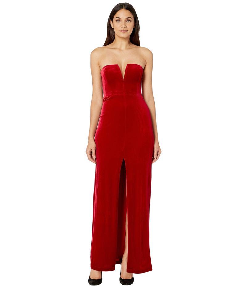 ビーシービージーマックスアズリア レディース ワンピース トップス Strapless Velvet Gown Passion Red