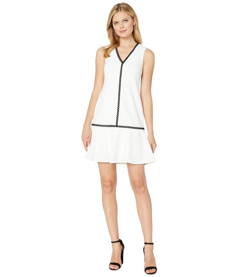 カルバンクライン レディース ワンピース トップス Ruffle Hem Dress with Piping Trim Detail White