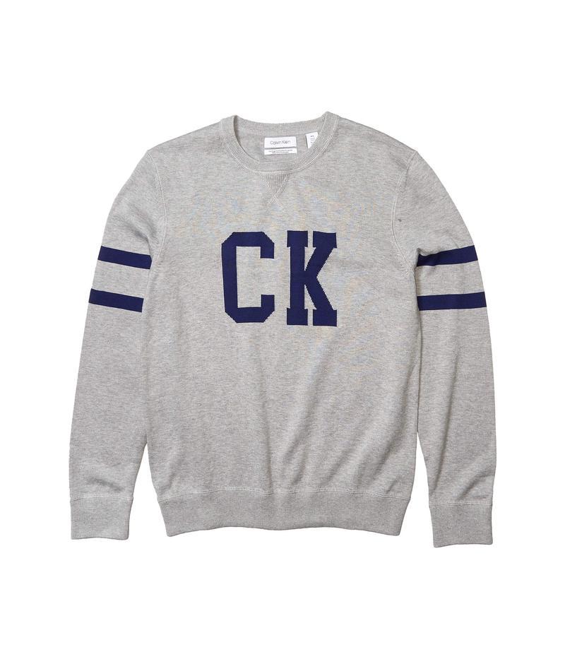 カルバンクライン メンズ ニット・セーター アウター Supima CK Logo Crew Heoric Grey Heather